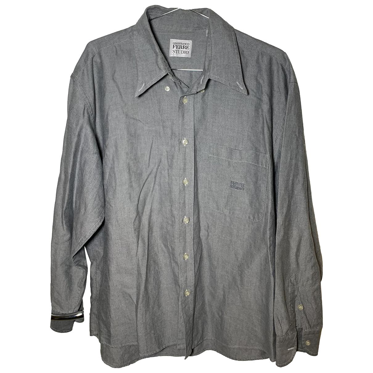 Gianfranco Ferré N Grey Cotton Shirts for Men 43 EU (tour de cou / collar)