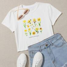Plus Flower And Slogan Graphic Tee