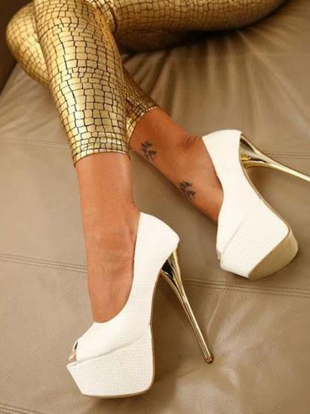Milanoo Zapatos de plataforma de tacon de stiletto estilo modernode punter Peep Toe de PU para mujer para uso en club Zapatos de tacon alto