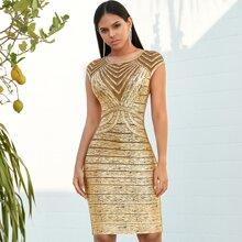 Adyce Metallisches Bandage Kleid mit Netzeinsatz