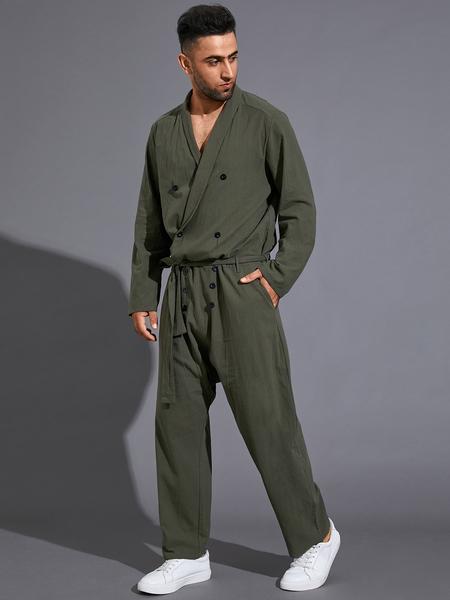 Yoins Men Plain V-neck Long Sleeve Casual Romper Playsuit Pants Jumpsuit