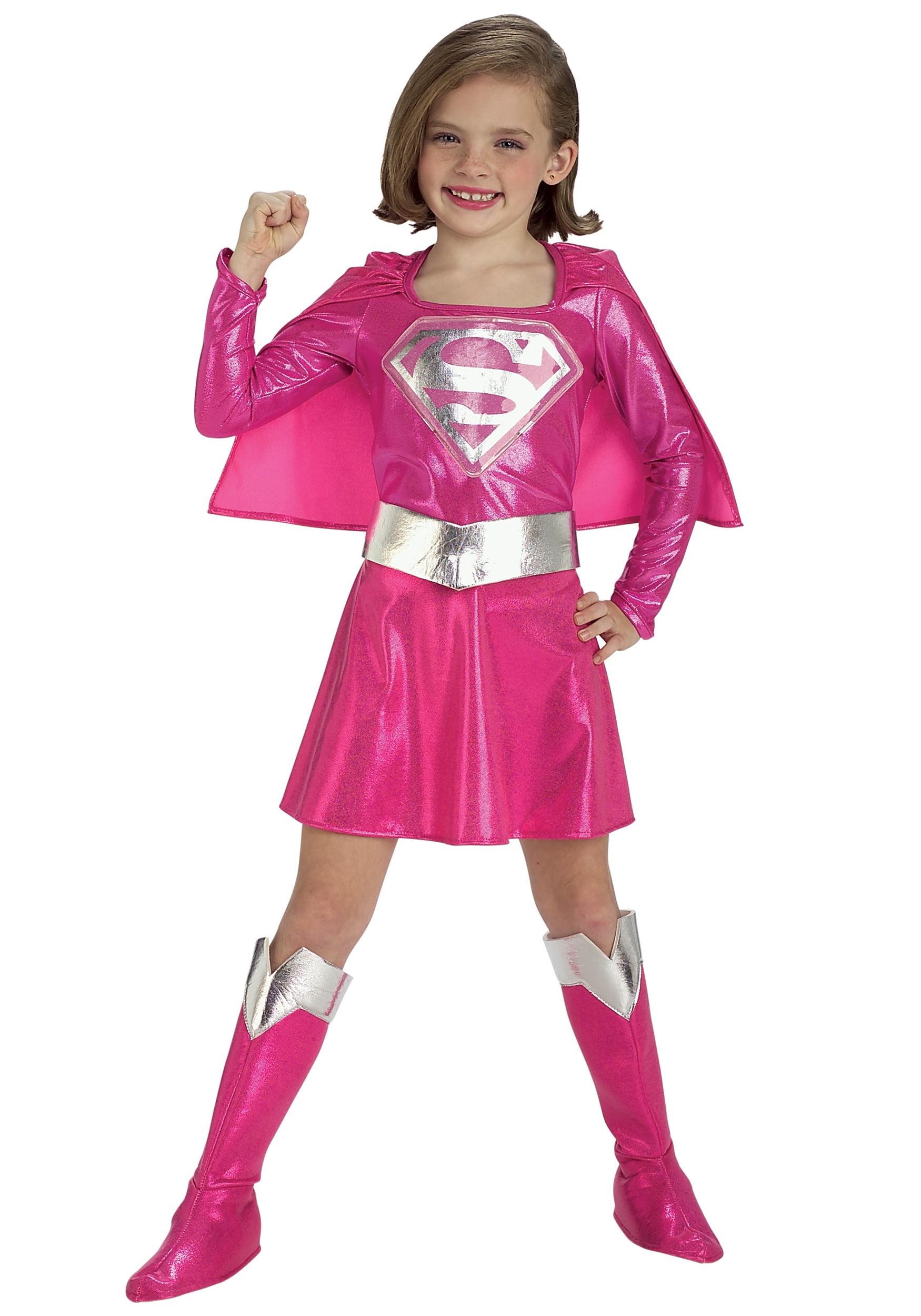 Girls Supergirl Pink Dress | Girls Superhero Costume