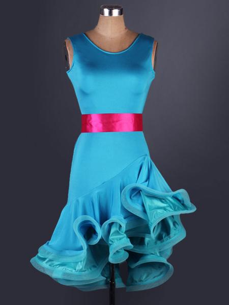 Milanoo Disfraz Halloween Traje de baile latino de organza fibra de poliester con estampadopara baile estilo femenino  Halloween