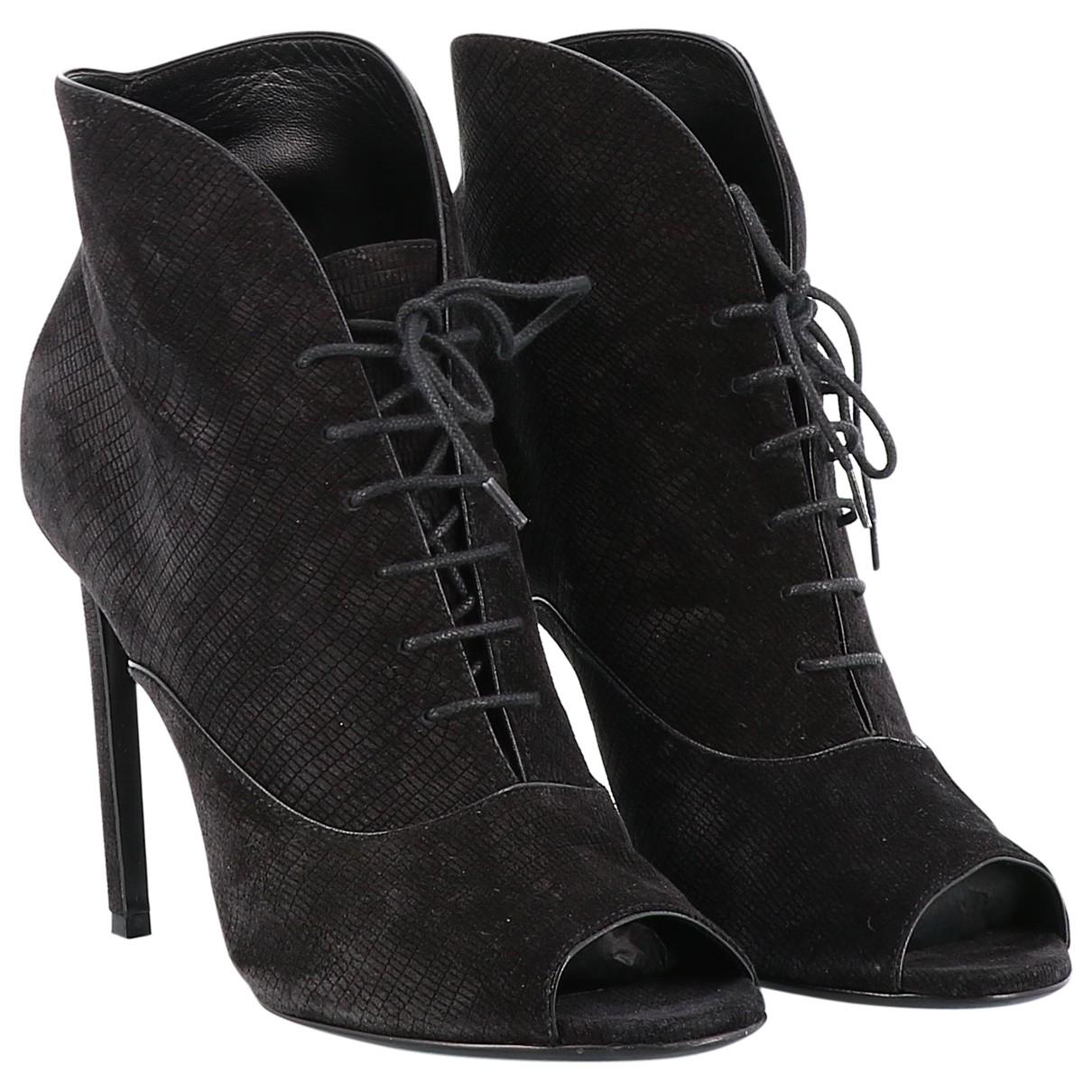 Saint Laurent \N Black Suede Ankle boots for Women 38 EU
