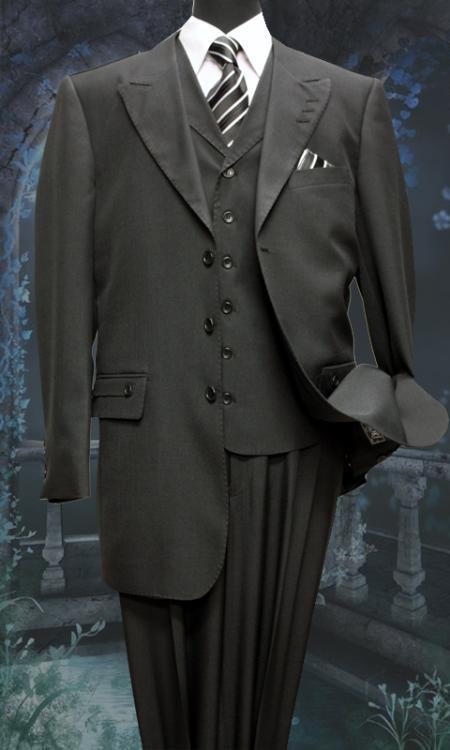 3Piece Suit Pants Woolfeel Black Mens Trousers Suit Jacket and Vest