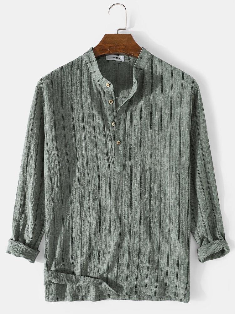Mens Stripe Knit Jacquard Cotton Split Long Sleeve Henley Shirts