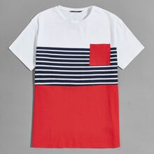 Men Pocket Patched Striped Colorblock Tee