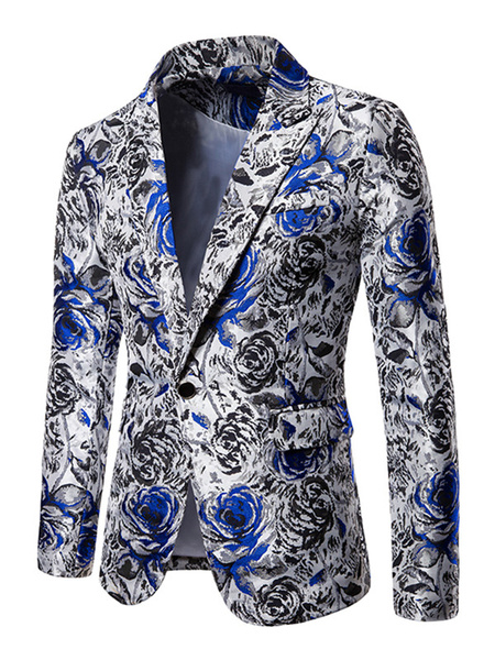Milanoo Blazers Jackets Rose Floral Print Casual Suits For Man