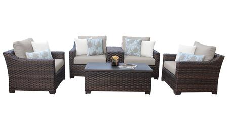 RIVER-06a-BEIGE Kathy Ireland Homes and Gardens River Brook 6-Piece Wicker Patio Set 06a - 1 Set of Truffle and 1 Set of Almond
