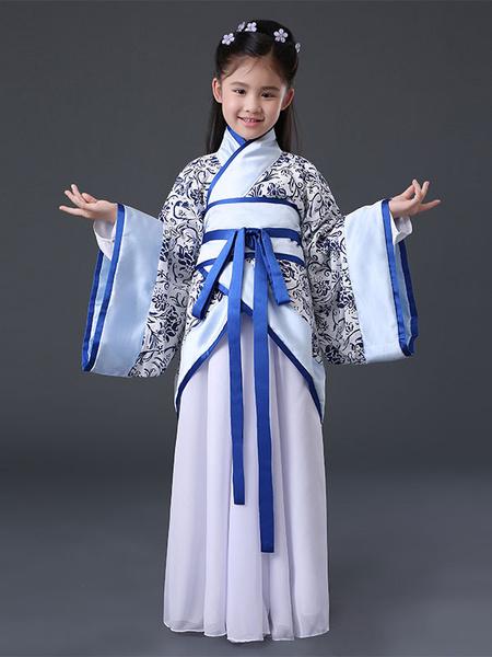 Milanoo Halloween Chinese Costume Girls Blue Ancient Hanfu Costume Halloween