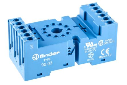 Finder Relay Socket, 250V ac for use with 60.13 Series Relay