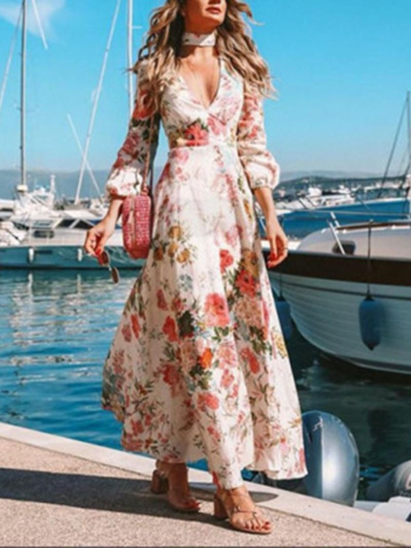 Ericdress Print Lantern Sleeve Expansion Ankle-Length High Waist Dress