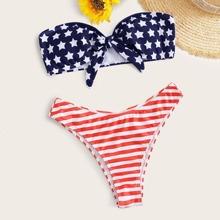 Bandeau Bikini Badeanzug mit amerikanischer Flagge Muster und hohem Ausschnitt