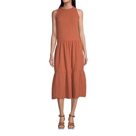 a.n.a Sleeveless Midi Drop Waist Dress, Petite Small , Red