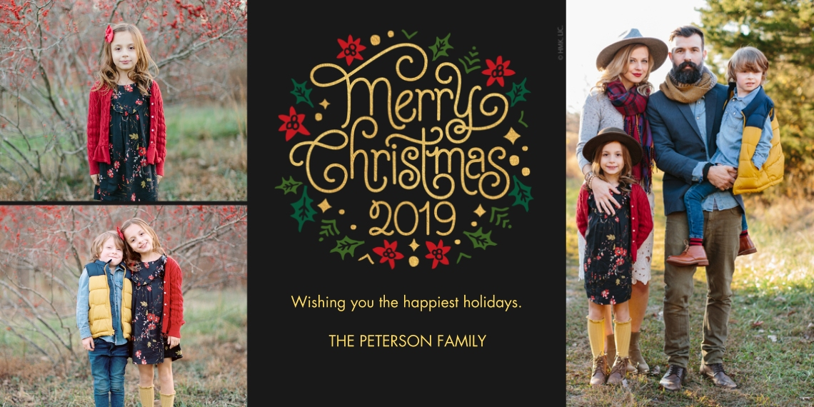 Christmas Photo Cards Flat Matte Photo Paper Cards with Envelopes, 4x8, Card & Stationery -Swirly Christmas Lettering 2019