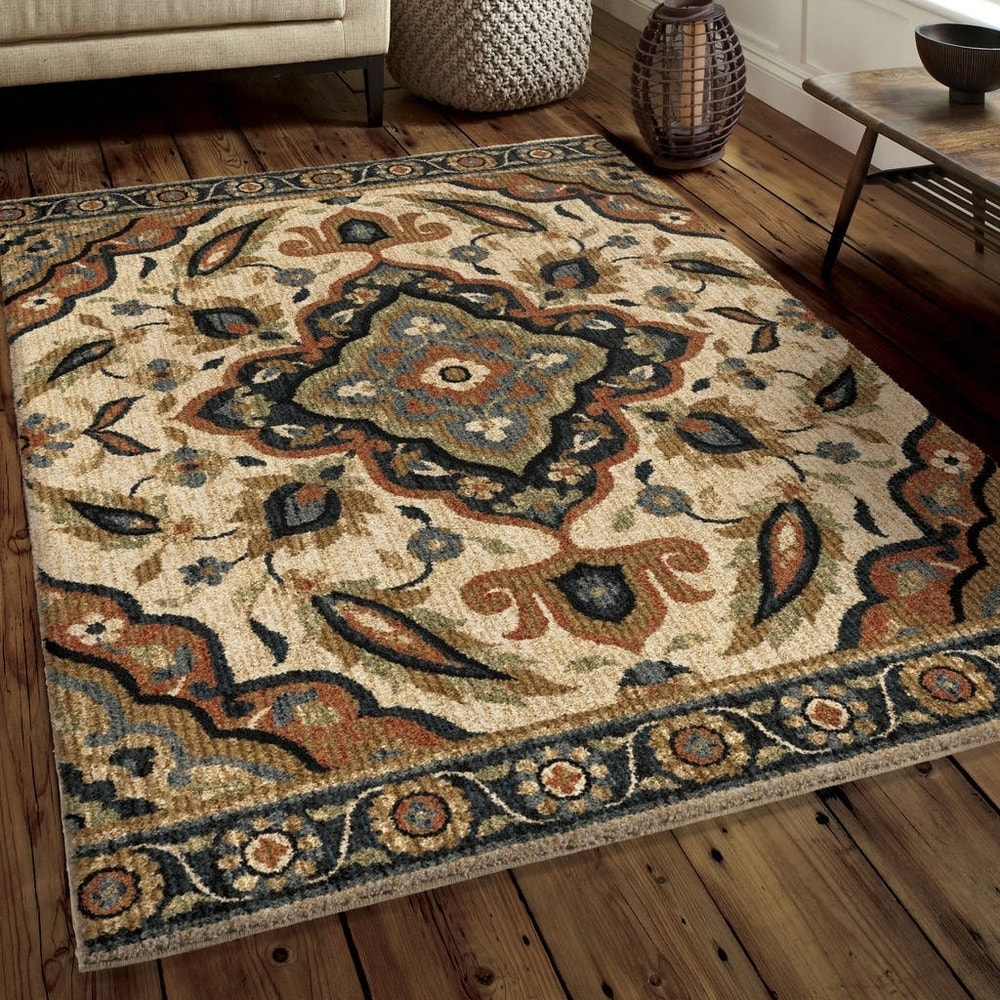 Carolina Weavers Soft Plush Collection Swirling Leaves Multi Shag Area Rug (7'10 x 10'10) - 7'10
