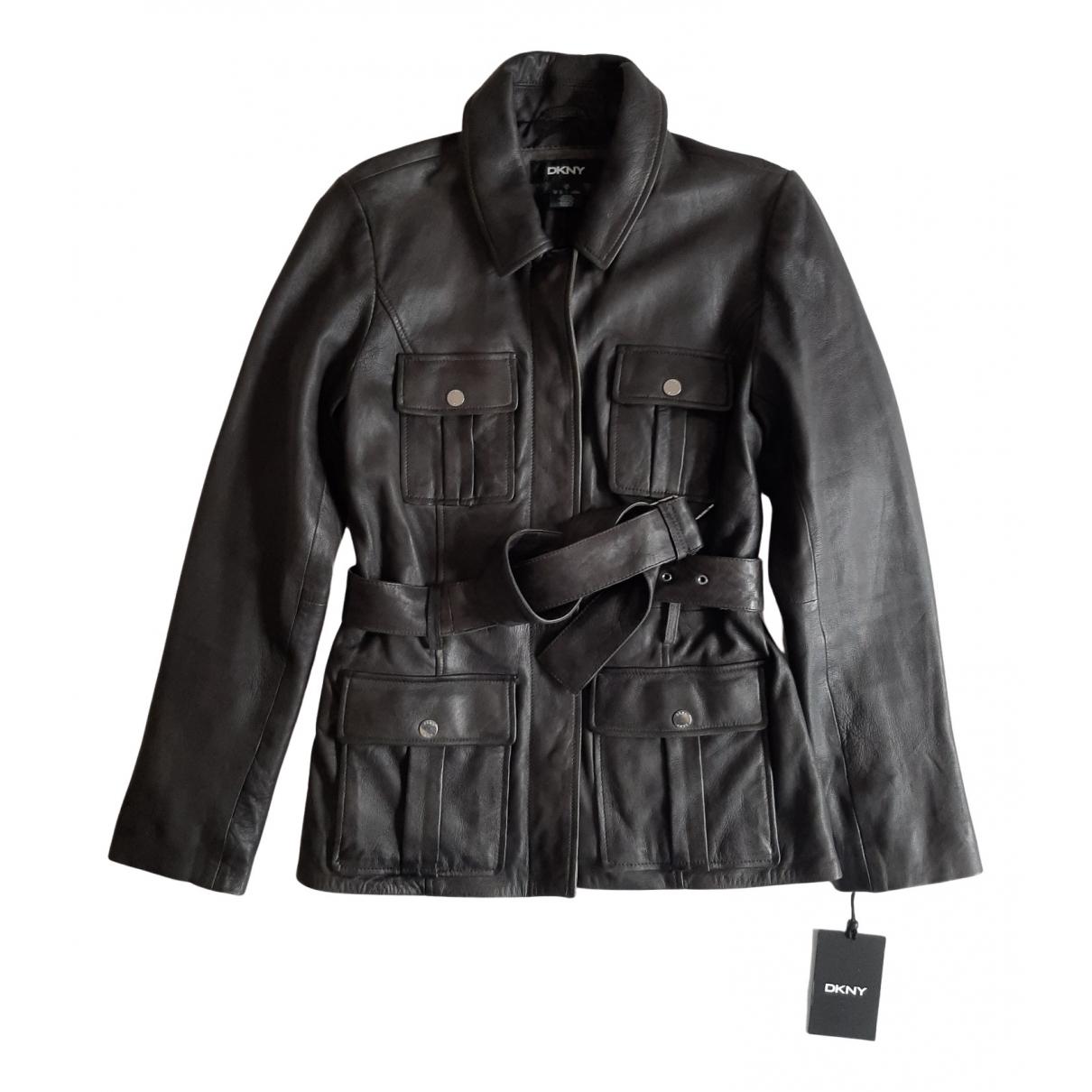 Dkny - Blouson   pour femme en cuir - noir