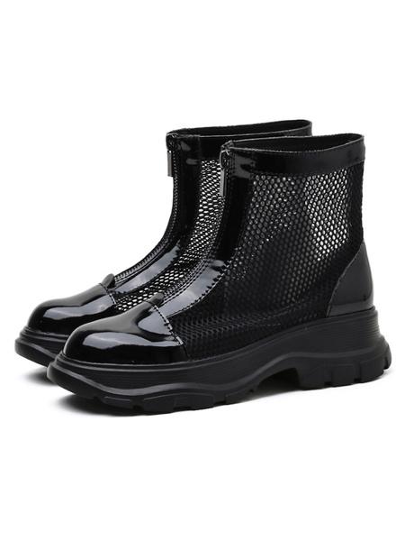 Milanoo Black Summer Boots Round Toe Mesh PU Women\'s Ankle Summer Boots