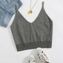 Plus Solid Crop Knit Cami Top