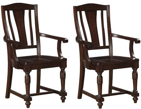 Tanner Collection 60833 Set of 2 Arm Chairs with Splat Backrest  Scooped Seat  Turned Front Leg  Crossbar Support and Solid Rubberwood Construction