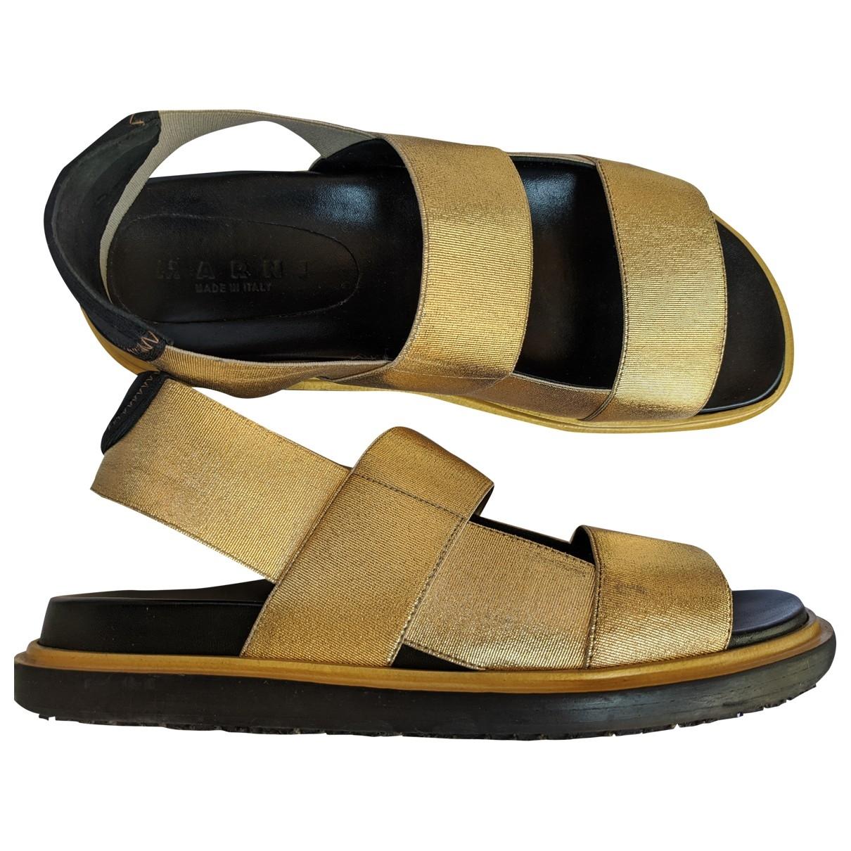 Marni - Sandales   pour femme en toile - dore