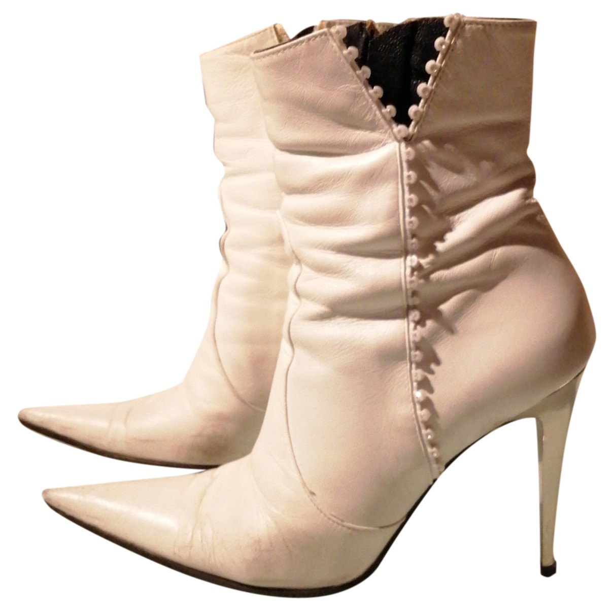Autre Marque N White Leather Ankle boots for Women 38 EU