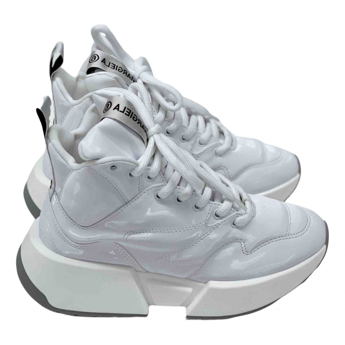 Mm6 \N White Patent leather Trainers for Women 37 EU