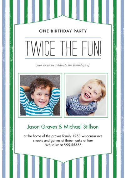 Kids Birthday Party Invites Flat Glossy Photo Paper Cards with Envelopes, 5x7, Card & Stationery -Twice the Fun Joint Boy Striped Bday