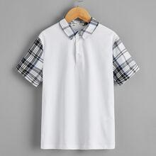 Polo Shirt mit Karo Muster am Kragen & an kurzen Ärmeln