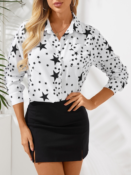 YOINS Star Print Classic Collar Long Sleeves Blouse
