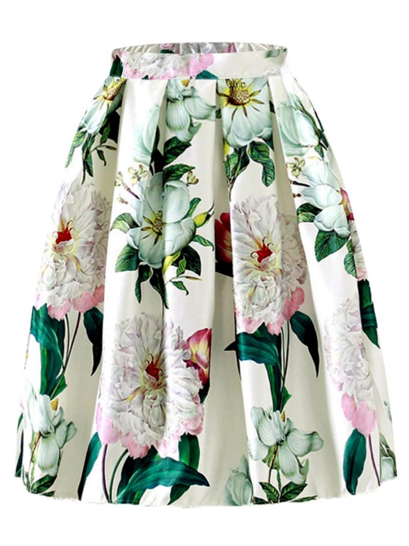 Ericdress Pleated Floral Mid-Calf Women's Skirt