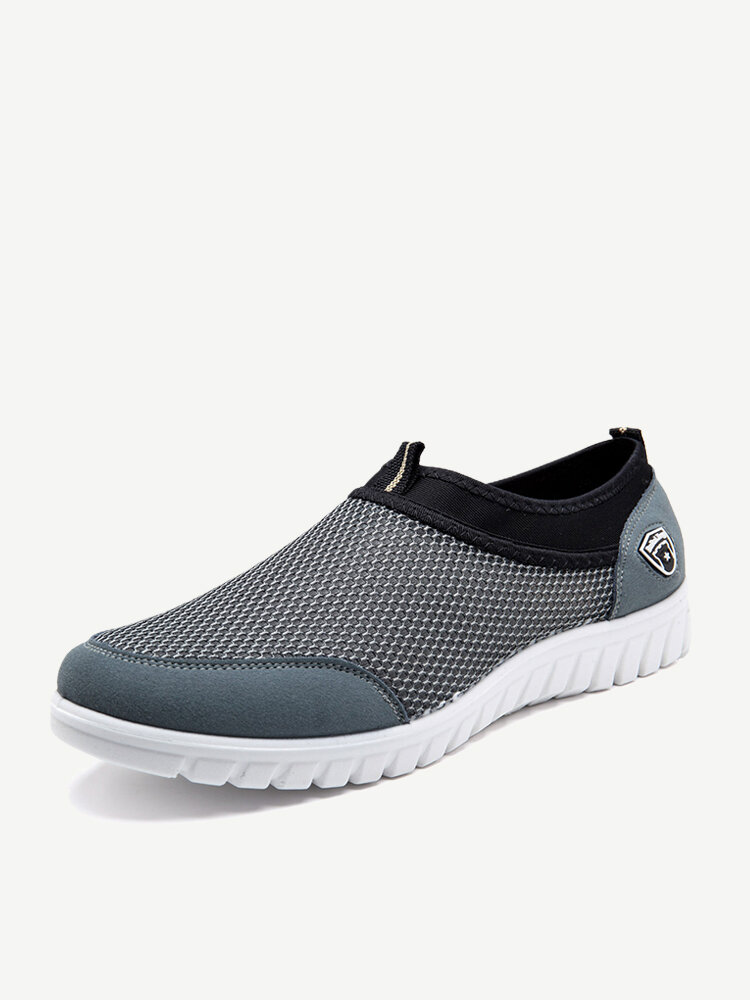 Large Size Men Mesh Soft Slip On Walking Shoes Casual Running Sneakers