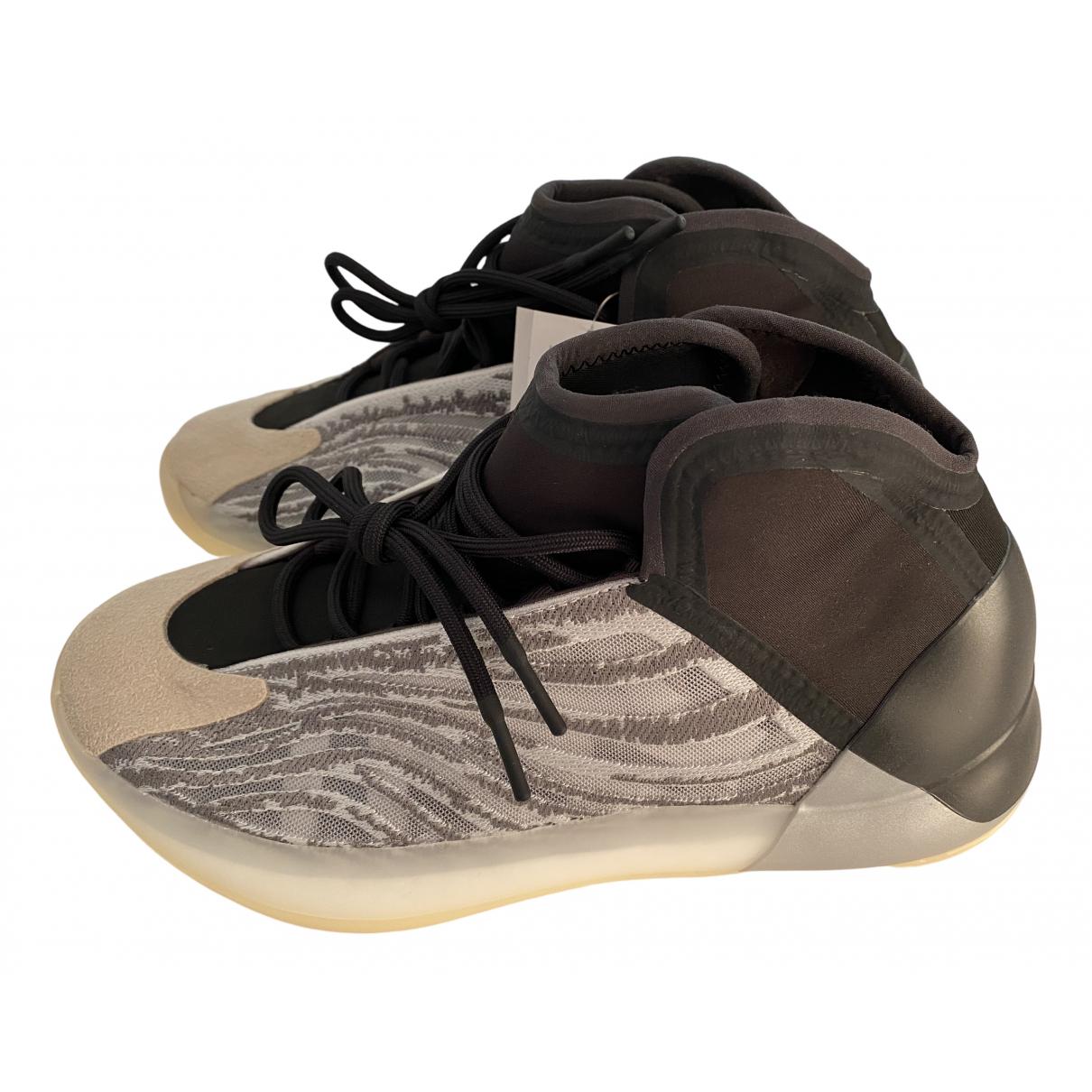 Yeezy X Adidas - Baskets QNTM BSKTBL pour homme en caoutchouc - argente