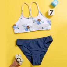 Maedchen Bikini Badeanzug mit Blumen Muster und Kreuzgurt