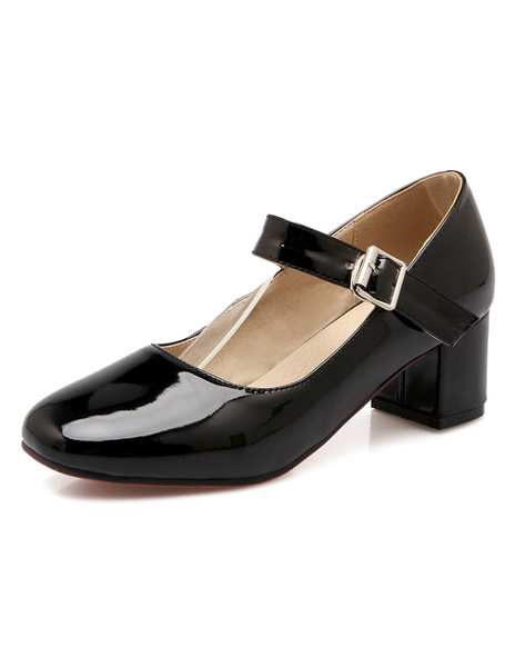 Milanoo Women's Block Heel Pumps Patent Mary Jane Square Toe Low Heel Shoes in Burgundy
