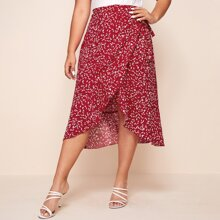 Plus Allover Print Wrap Knot Skirt