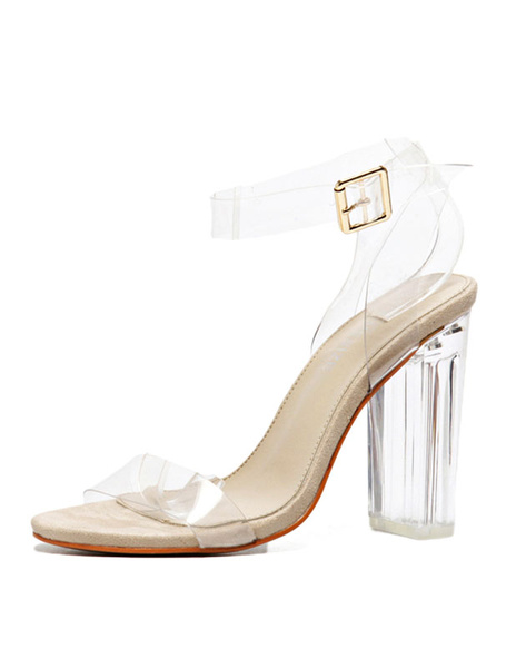Milanoo Chunky Heel Sandals Womens Transparent Open Toe Ankle Strap Sandals