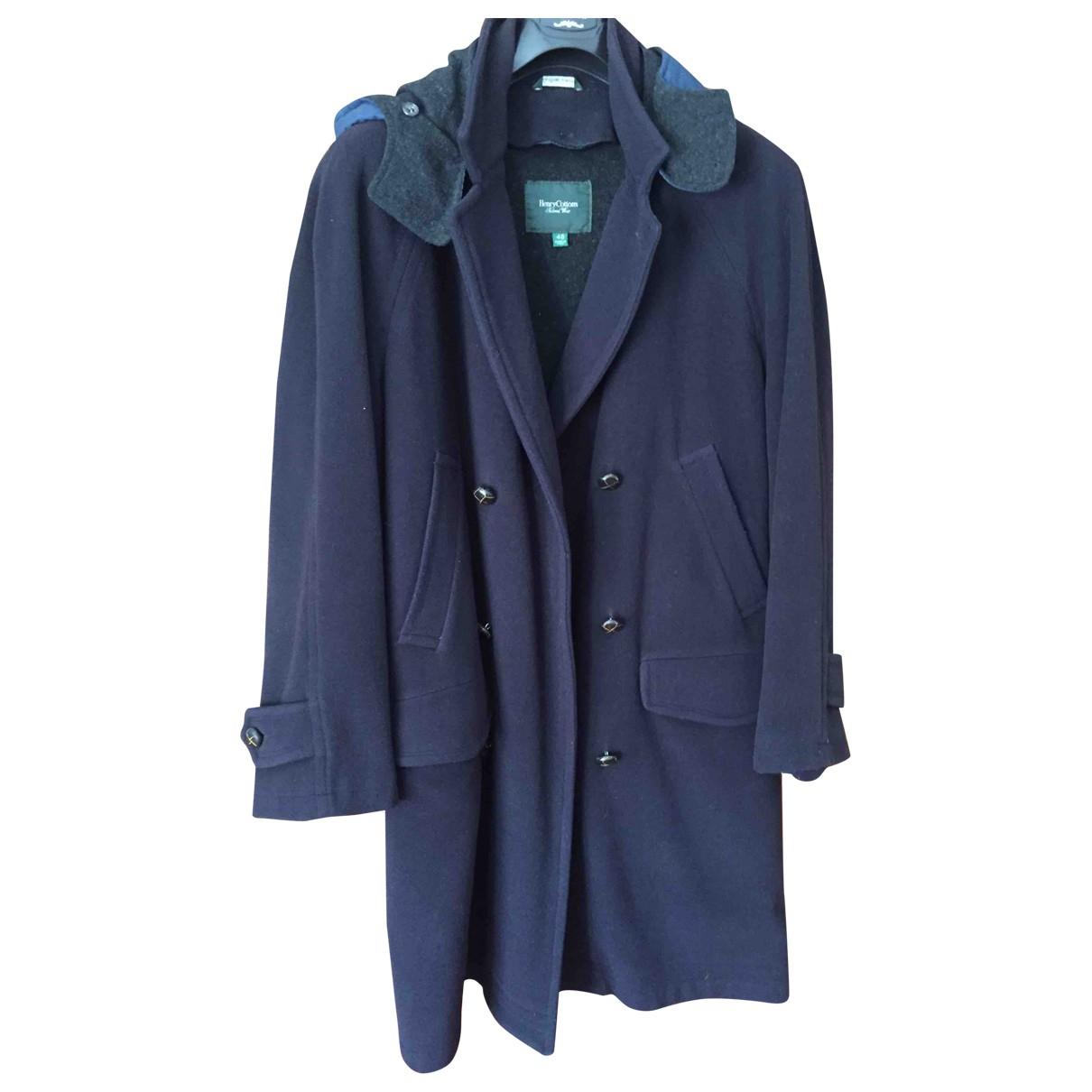 Henry Cotton - Manteau   pour homme en laine - bleu