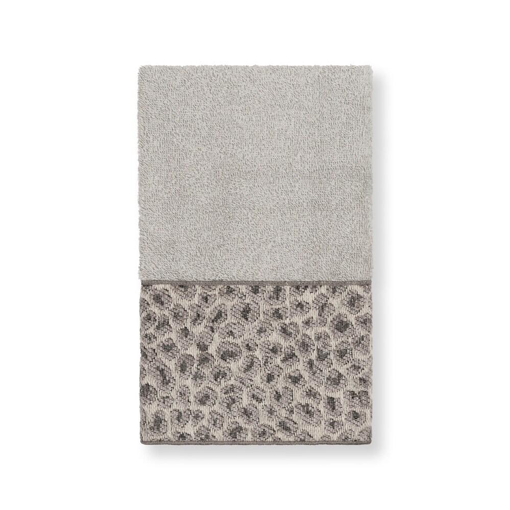 Authentic Hotel and Spa Turkish Cotton Cheetah Jacquard Trim Light Grey Hand Towel