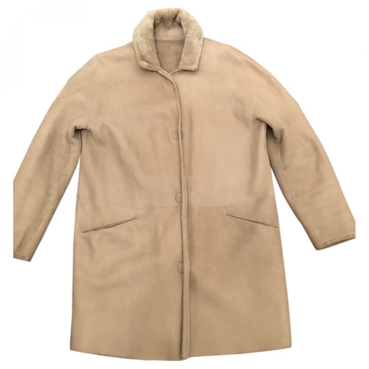 Ventcouvert \N Ecru Mongolian Lamb coat for Women 38 FR
