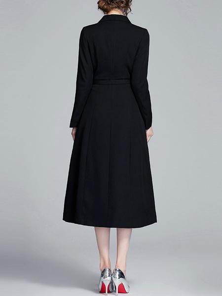 Milanoo Long Blazer Coats Black Turndown Collar Long Sleeves Buttons Maxi Dress With Belt
