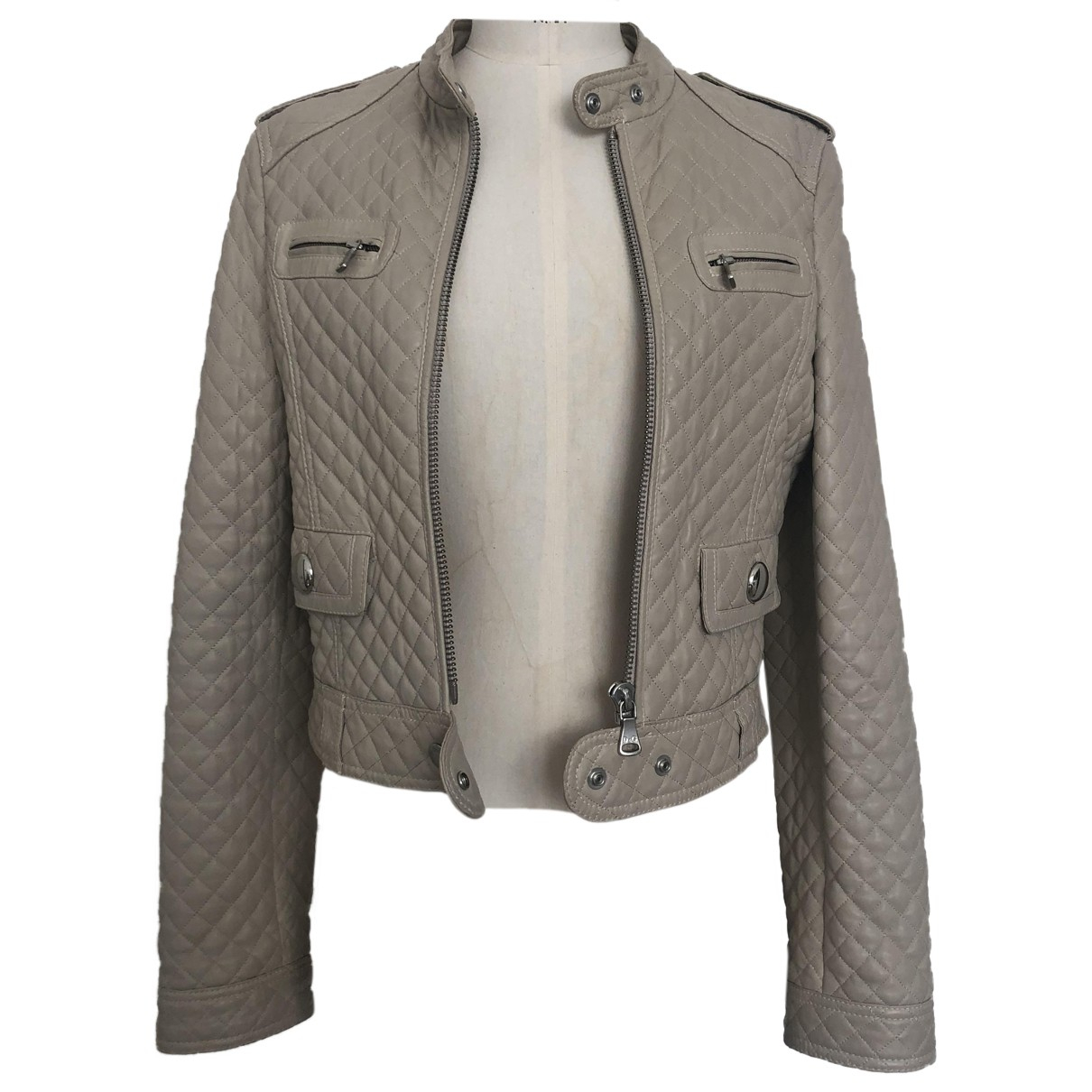 D&g N Beige Leather Leather jacket for Women 44 IT