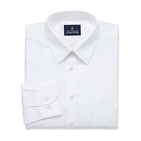 Stafford Mens Wrinkle Free Stain Resistant Stretch Super Dress Shirt, 17 34-35, White