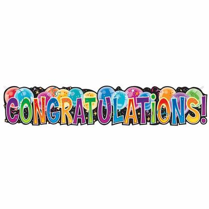 Multicolor Balloon Giant Congratulations Jointed Party Banner, 4.5ft