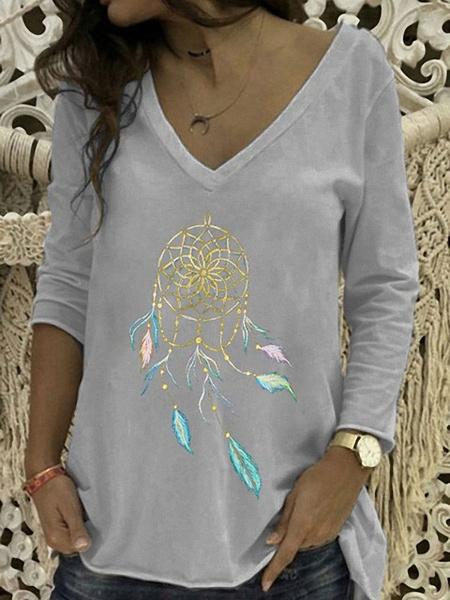 Milanoo Camisa de mujer Mangas largas Camisetas con cuello en v Camiseta de poliester Dreamcatcher negra