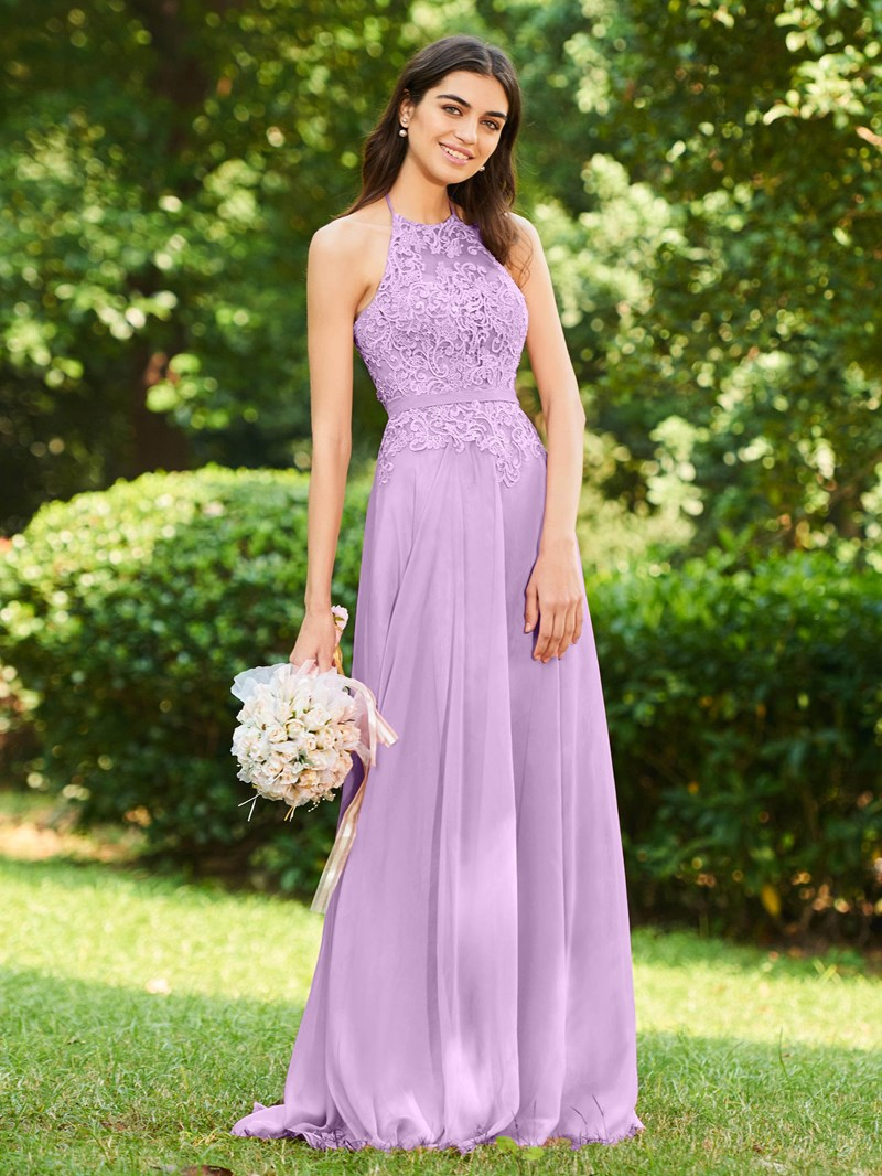 Ericdress Halter Appliques Backless Bridesmaid Dress