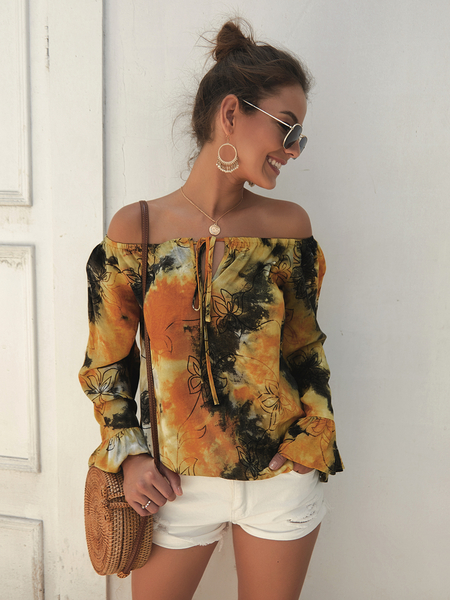 Yoins Yellow Tie-dye Off The Shoulder Long Sleeves Blouse