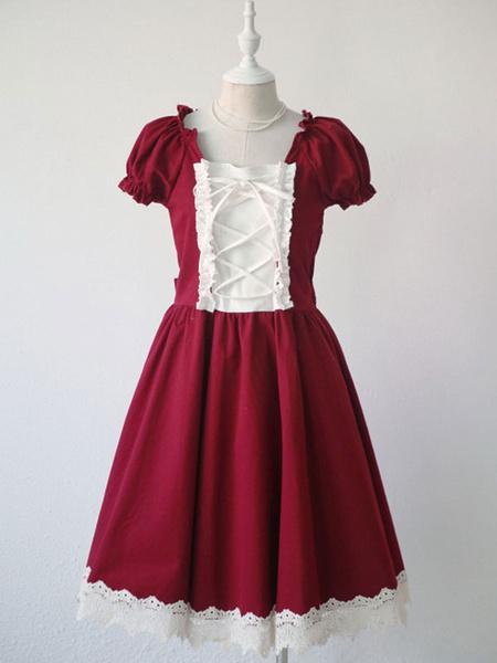 Milanoo Classic Lolita OP Dress Lace Trim Ruffle Pleated Red Lolita Lolita One Piece Dress