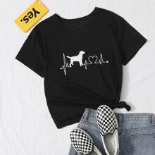 T-Shirt mit Hund & Herzschlag Muster