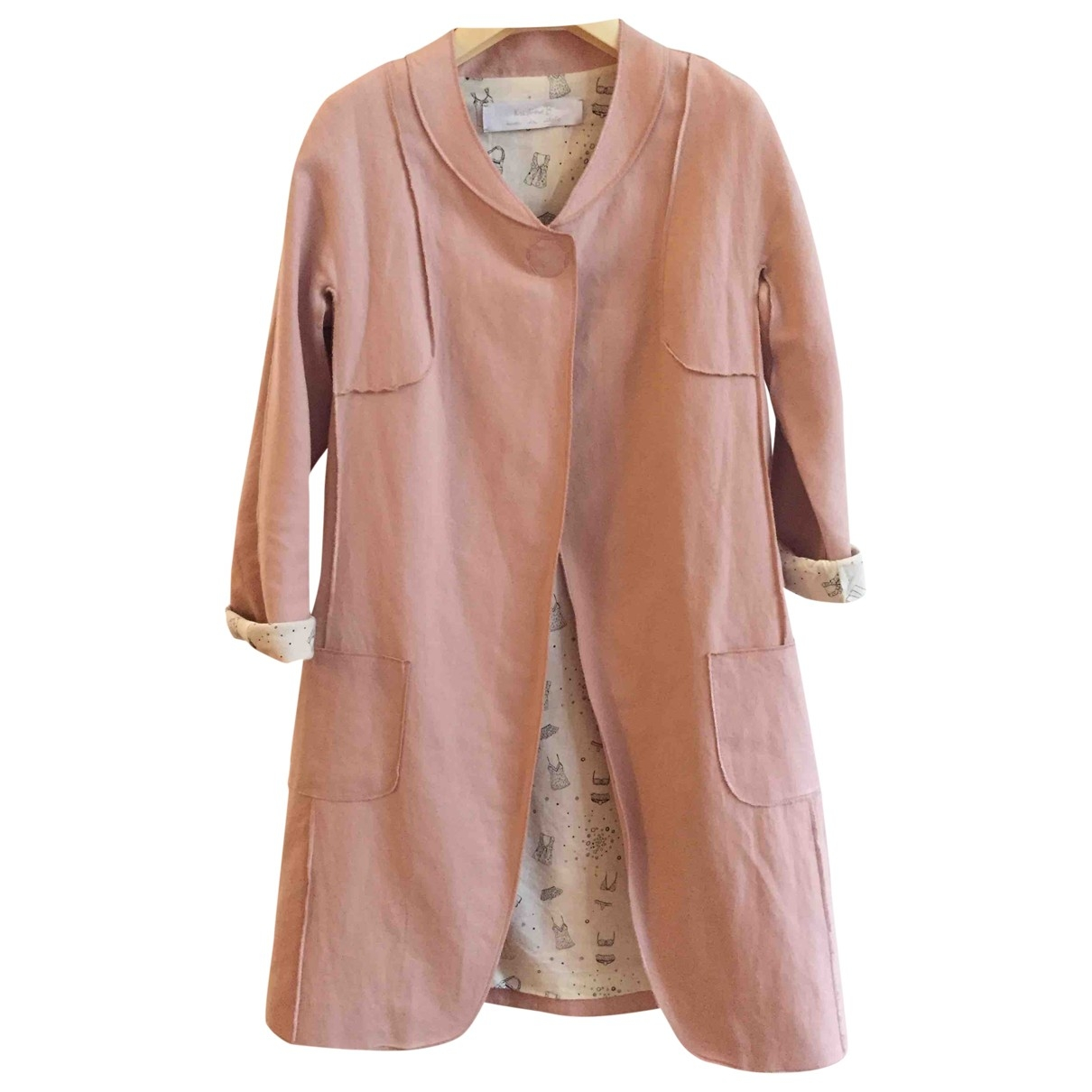 Non Signé / Unsigned \N Pink Linen coat for Women 40 IT